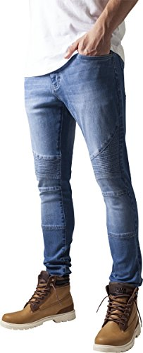 Urban Classics TB1436 Herren und Jungen Jeanshose Slim Fit Biker Jeans, Five-Pocket Stretch Biker Hose im Used Look, blue washed, Größe 34