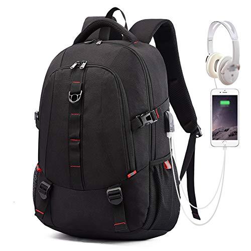 Zaino Imbottitura Decompressione Impermeabile Zaino USB Dual Interfaccia Uomo Cerniera Casual Forte Capacità Portante Adatto Viaggi All Aperto