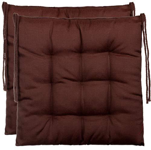 BrandssellerCojín decorativo de asiento para silla de jardín, 9 pespuntes, varios diseños, poliéster, marrón, 2er-Paket