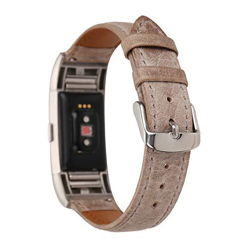 XIALEY Correa De Repuesto Compatible con Fitbit Charge 2, Correas De Cuero para Mujer Hombre Pulsera De Reloj Reemplazo Banda Ajustable Brazalete Accesorios para Charge 2,E