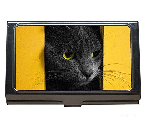 Titular de la tarjeta del nombre del negocio, caja de la tarjeta de visita del gato para los hombres y las mujeres