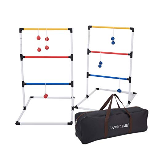 Ladder Ball Set, ladderball Game Set — Includes 2 Ladder Ball Targets with Weighted Bases and 6 Bolas — Ladder Toss Outdoor Game Set for Beach or Summer Outdoor Games, Lawn Games for Family