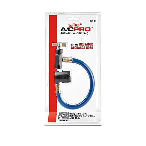 Certified AC Pro Car Air Conditioner Hose for R134A Refrigerant, Recharge Kit for Cars & Trucks & More, Reusable, 8 in, CERT401-1