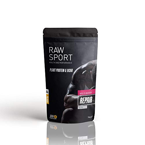 Raw Sport Elite Vegan Protein with 7g of Vegan BCAA'S per Serving- With Added Superfoods-Electrolytes-Probiotics-Digestive Enzymes (wild berry)