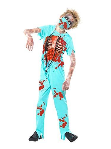 Smiffy's-44032M Sangriento Disfraz de Cirujano Zombi, con Pantalones manchados de Sangre, Parte de ar, Color Azul, M-Edad 7-9 años (44032M)