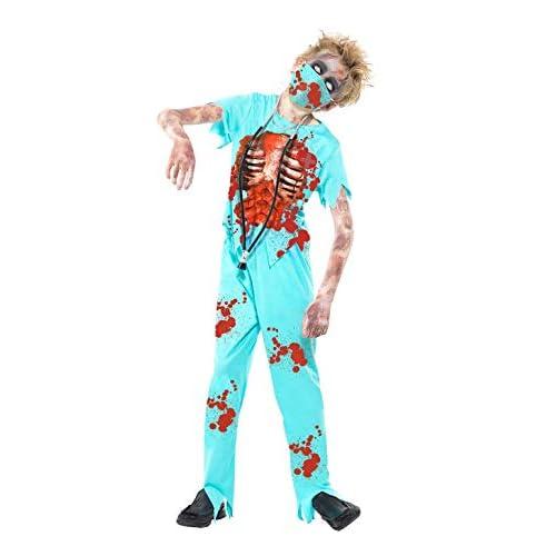 Smiffys Costume Zombie Chirurgo, Azzurro, comprende Pantaloni Insanguinati, Top, Mascher