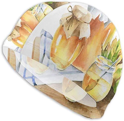 HFHY Pots de Miel et de Tournesol sur Une Planche de Bois Bonnet de Bain pour Homme Bonnet de Bain de Natation en élasthanne Chapeau Design Ultra-élégant/Confort Optimal/Respectueux de la Peau/p