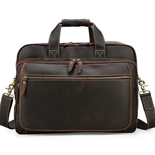 TIDING Mens Cowhide Leather Laptop Bag Briefcase Messenger Shoulder Bag Business Office Computer Case Crossbody Bag 15.6' Large Expanion Capacity Brown