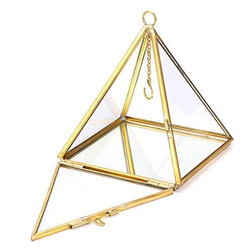 Hipiwe Schmuckkästchen für Ringe – geometrische Glaspyramide Ringhalter, Ringhalter, Schmuckschatulle, Hochzeitsringträger, Geschenkbox, Prisma, Ring-Ständer (rechteckige Pyramiden)