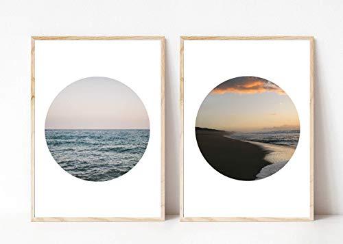 Din A4 Kunstdruck ungerahmt 2-teilig - Strand Ozean Meer Küste Wellen - Kreis Scandi Style Fotokunst Geschenk Druck Poster Bild
