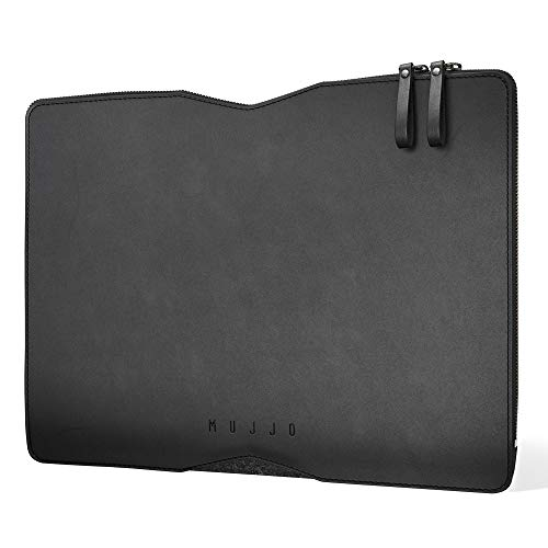 Mujjo Folio Sleeve for 13' MacBook Pro, 13' MacBook Air, iPad Pro 12.9-inch | 2-Sided: Premium Soft Leather Front, Luxurious Wool Felt Back (Black)