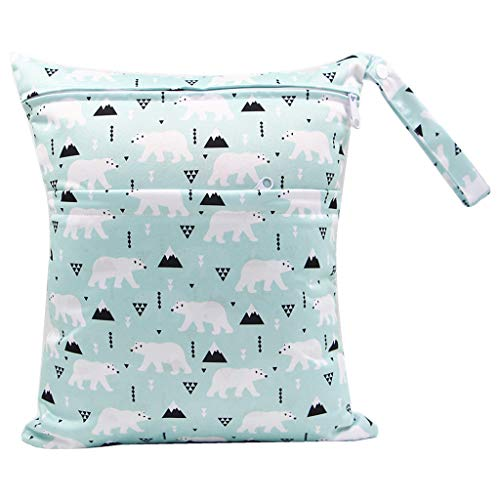 karrychen 30x36cm Fashion Print Baby Diaper Storage Bag Reusable Waterproof Nappy Pouch- 1#