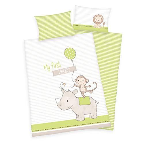 Arle-Living - Juego de ropa de cama infantil (3 piezas, 100 x 135 cm + 40 x 60 cm + 1 sábana bajera de 70 x 140 cm, 100% algodón), diseño de mis primeros amigos