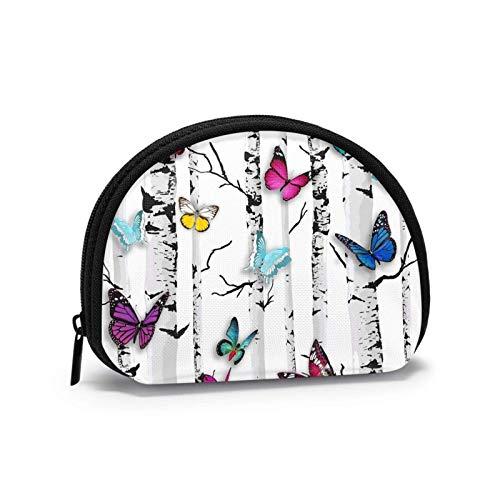 Monedero de jardín mariposa mini bolsa de cambio con cierre de cremallera para mujeres y niñas