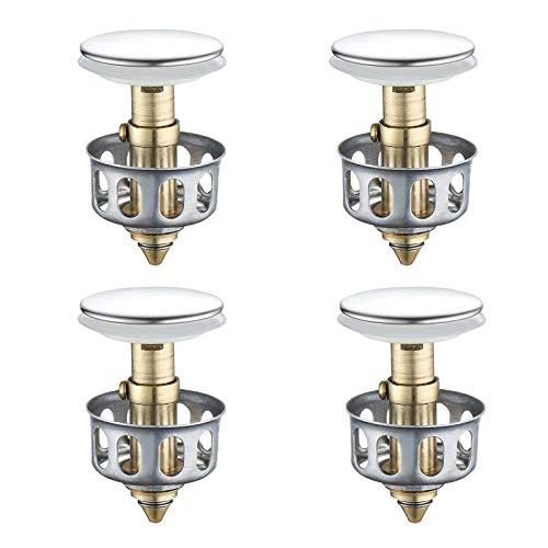 BuleEco Universalwaschbecken Absprungfilter, Passend für 3,5 cm Waschbecken, Kein Überlauf Pop-Up Waschbecken Ablassschraube mit Korb, Universal Küchensieb Waschbecken Abflussstopfen