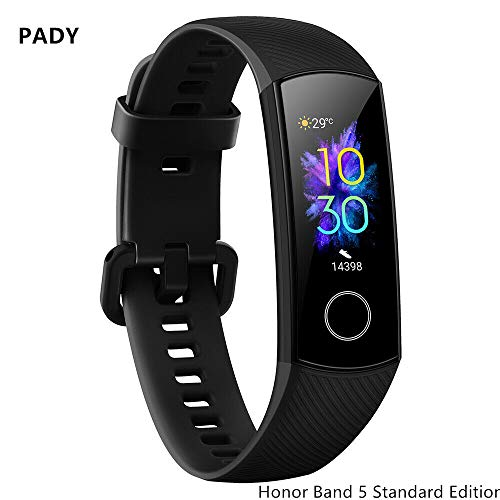 luckyruby Honor Band 5 6-Axis Inertial Heart Rate Monitor Infrared Light Wear Detection Sensor Full Touch AMOLED Color Screen Home Button All-in-One Activity Tracker 5ATM Waterproof (Honor 5- Black)