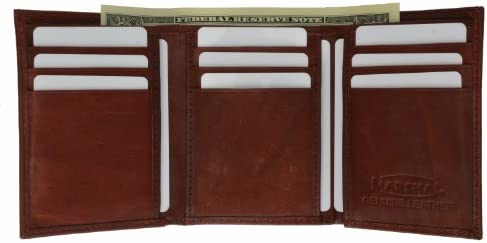 Wallet Leather Mens Trifold Wallet Zipper Money Compartment