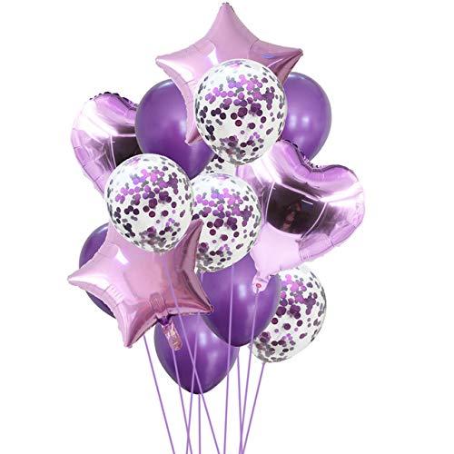Yalulu 14 Stück Konfetti Luftballons Folienballon Herz Star Ballon Luftballons Latex Helium Pailletten Ballon Für Geburtstagsfeier Hochzeit Party Valentinstag Dekorationen (Lila)