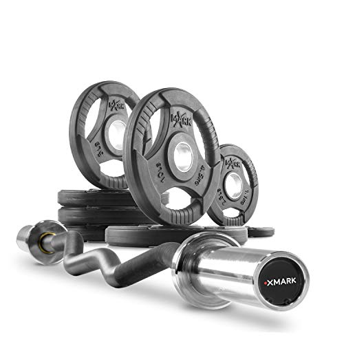XMark Olympic Bar Curl Bar with Weights Offer, Olympic Weights 45 lb Set of TRI-Grip Olympic Weight Plates, Premium Quality, Rubber Coated XM-3377 with EZ Curl Bar, Black Manganese 28mm XM-3675