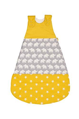 ULLENBOOM Saco de dormir de bebé para el verano Elefantes Amarillo - Saco de dormir de bebé para el verano hecho de algodón, cómodo saco de dormir para bebés, tamaño: 80 a 86