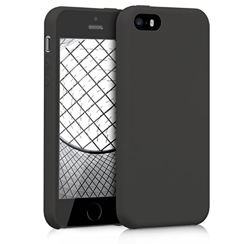 kwmobile Funda Compatible con Apple iPhone SE (1.Gen 2016) / 5 / 5S - Carcasa de TPU para móvil - Cover Trasero en Negro Mate
