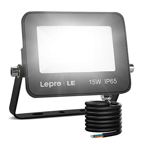LE Foco LED de 15W, 1300 lúmenes, IP65 resistente al agua, Foco LED Exterior, Blanco Frío 5000 K, Ángulo de haz 120°, Foco Proyector LED para Jardín, Garaje, Hotel, Patio, etc.