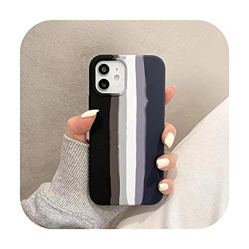 Silikon-Schutzhülle für iPhone 12/11 Pro Max XR XS Max 8 7 6S Plus SE in Regenbogenfarben
