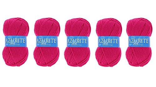 Lot 5 Pelote de laine Azurite 100% Acrylique Tricot Crochet Tricoter - Rose - 3019