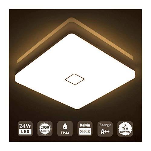 Öuesen 24W Wasserdichte LED Deckenleuchte Moderne ultradünne quadratische Unterputz LED Deckenleuchte Warmweiß 3000K für Badezimmer Schlafzimmer Küche Wohnzimmer Korridor Esszimmer Balkon
