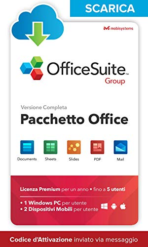 OfficeSuite Group - LICENZA DIGITALE - Compatibile con Microsoft® Office Word Excel® & PowerPoint® e Adobe® PDF per PC Windows 10, 8.1, 8, 7 - 1 anno di licenza, 5 utenti