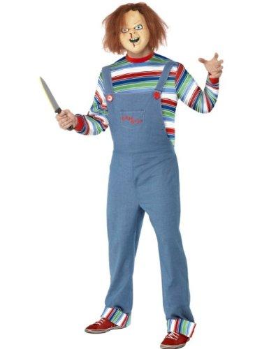 Smiffys Licenciado oficialmente Costume homme Chucky Bleu, avec haut, salopette et masque