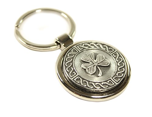 Irish Keychain Shamrock Celtic Weave Pewter & Stainless Steel Irish Made