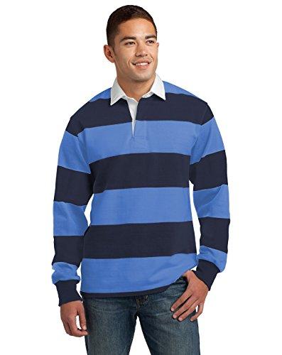 SPORT-TEK Men's Long Sleeve Rugby Polo S True Navy/Carolina Blue