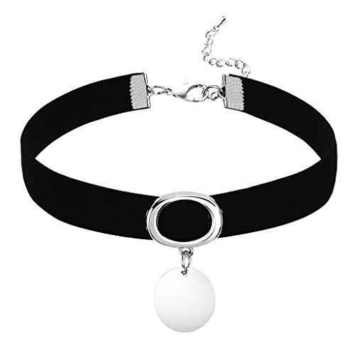 Daesar Joyería Mujer Joven Gargantilla Redondo Colgante Terciopelo Velvet Plata Negro Colgante Choker Necklace, 32+8.3CM; Adjustable