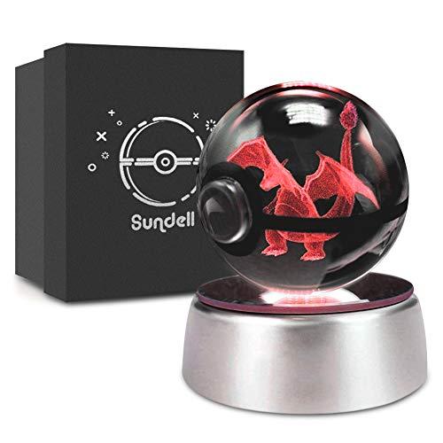 Regalos para Navidad, Sundell Regalo de cumpleaños único para niños, bola de cristal 3D con base de lámpara de decoloración, regalo para niños en caja de regalo (Charizard)