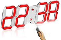 壁掛け時計 デジタル 大型 くり抜く3D led wall clock 時計 LEDデジタル 目覚まし時計 時計 壁掛け 置き時計 置時計 おしゃれ 多機能 明るさ調整 スヌーズ アラーム 12H/24H時間表示 立体 (Color : Red(B))