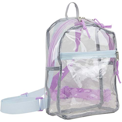 Eastsport 100% Transparent Clear MINI Backpack (10.5 by 8 by 3 Inches) with Adjustable Straps, Clear/Lovely Lilac/Icy Blue