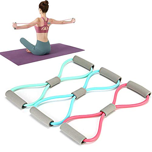 Resistance Bands Figure 8, Yoga Resistance Band Stretch Fitness Band, with Thickened Elastic Tube, not Easy to Break, for Home Workout, Physical Therapy, Strength Training, Muscle
