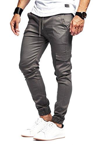 Leif Nelson Herren Jogger Chinos Cargo Stretch Basic Jeans Hosen Freitzeithose Jeanshosen Chinohosen Slim Fit LN8071; Größe S; Anthrazit