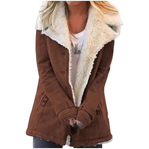 Dosoop Women Plus Size Winter Warm Coat Composite Plush Button Lapels Jacket Outwearcoat Overcoat Fleece Outwear Jacket