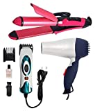 Celebrino Hair Dryer and Nhc-2009 Straightener and Curler, Professional Electric Hair Trimmer (Multicolour)