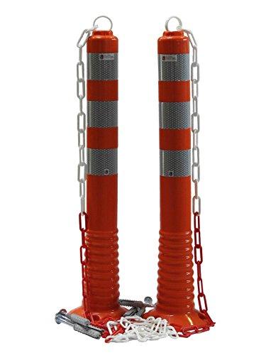 UvV 2 Stück Absperrpfosten flexibel 70cm Kettenpfosten reflektierend mit praktischer Absperrkette als flexibler Sperrpfosten mit stabilem Standfuß inkl. Befestigung orange (2)