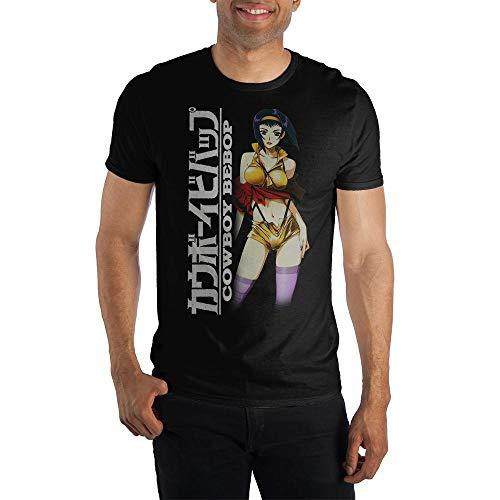 Cowboy Bebop Sexy Character Shirt, Faye Logo T-Shirt with Detailed Illustration, Stylish Profile Kanji Japanese-Large Black