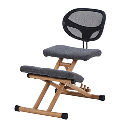 N / C Ergonomic Kneeling Chair Adjustable Home Office Stool with an Angled Mesh Cushion for Improve Your Posture Comfortable Knees and Straight Back
