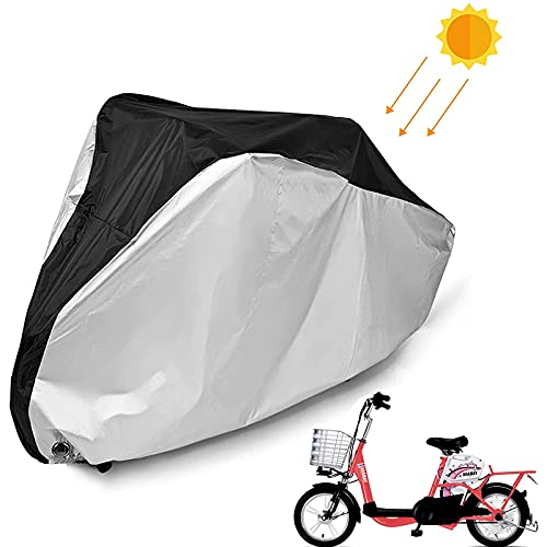 QIQIQ Bike Cover Outdoor Waterproof Bicycle Motorcycle Covers with 210D Double Sided Fabric and Lock Hole for Mountain Road Electric