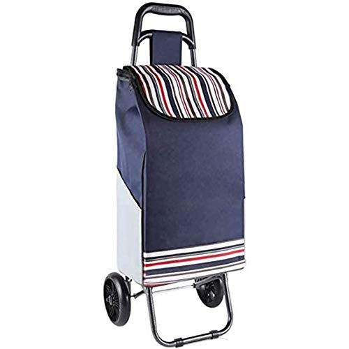 PLAYH Large-capacity Wheeled Shopping Cart Foldable Shopping Cart With Waterproof Detachable Bean Bag Wheels And Lid Portable Shopping Cart (Color : B)