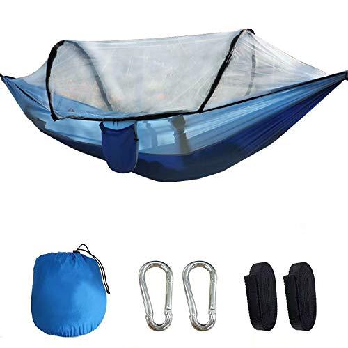 Big Bargain Store Hamaca para acampar con mosquito para dormir, viajar, al aire libre Hamaca individual y doble con red para insectos (260x140cm) Columpio para tienda de hamacas a prueba de viento