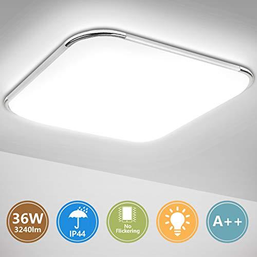 Hengda LED Deckenleuchte 36W Deckenlampe Kaltweiss 6500K, 3240LM Badlampe IP44 Wasserfest Lampen für Badezimmer Wohnzimmer Küche Schlafzimmer Büro, Flimmerfreie