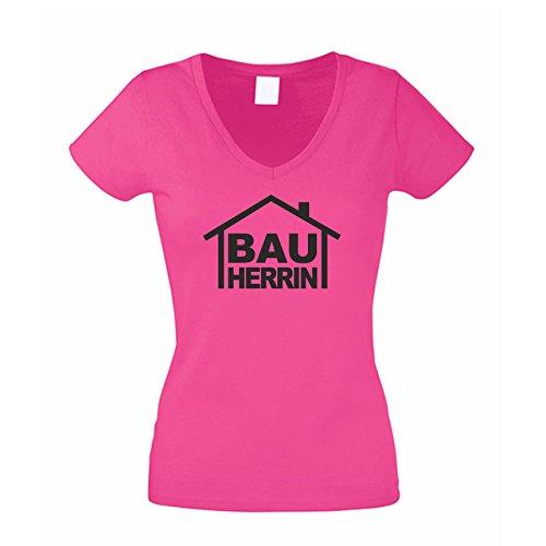 Bauherrin - Damen T-Shirt mit V-Ausschnitt als Geschenk zum Richtfest | zur Einweihungsfeier | zum Hausbau, L, pink-schwarz