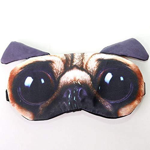 Cute Sleep Eye Mask for Sleeping Funny Cat Pug Dog Cartoon Mask Soft Blindfold for Rest Relax